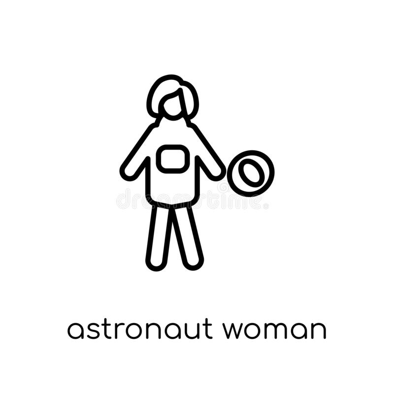 Astronauta kobiety ikona Modny nowożytny płaski liniowy wektorowy astronauta ilustracja wektor