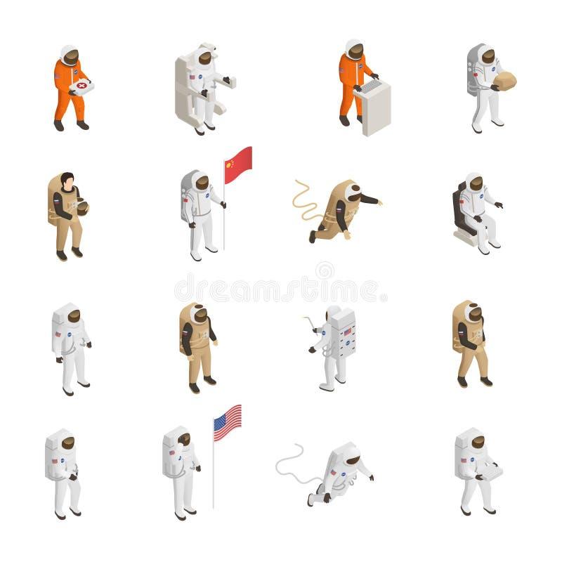 Astronauta kosmonauta Spacesuit Isometric set ilustracji