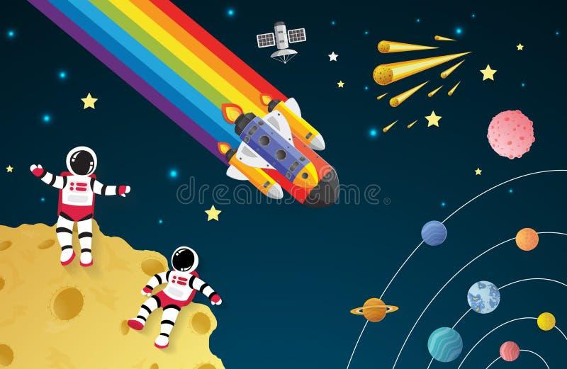 Astronauta kreskówka na księżyc z statkiem kosmicznym w przestrzeni royalty ilustracja