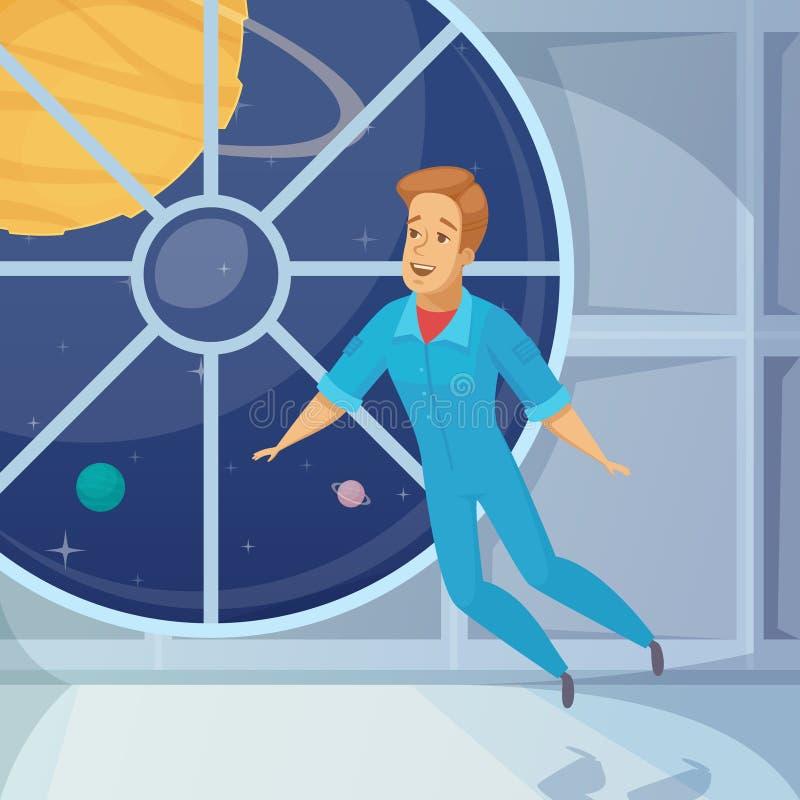 Astronauta kreskówki Weightless Astronautyczna ikona royalty ilustracja