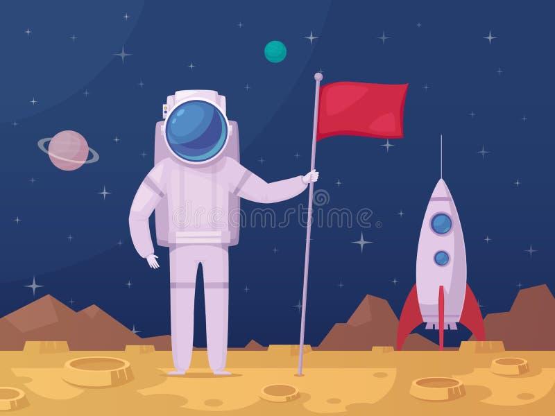 Astronauta Księżycowej powierzchni kreskówki ikona royalty ilustracja
