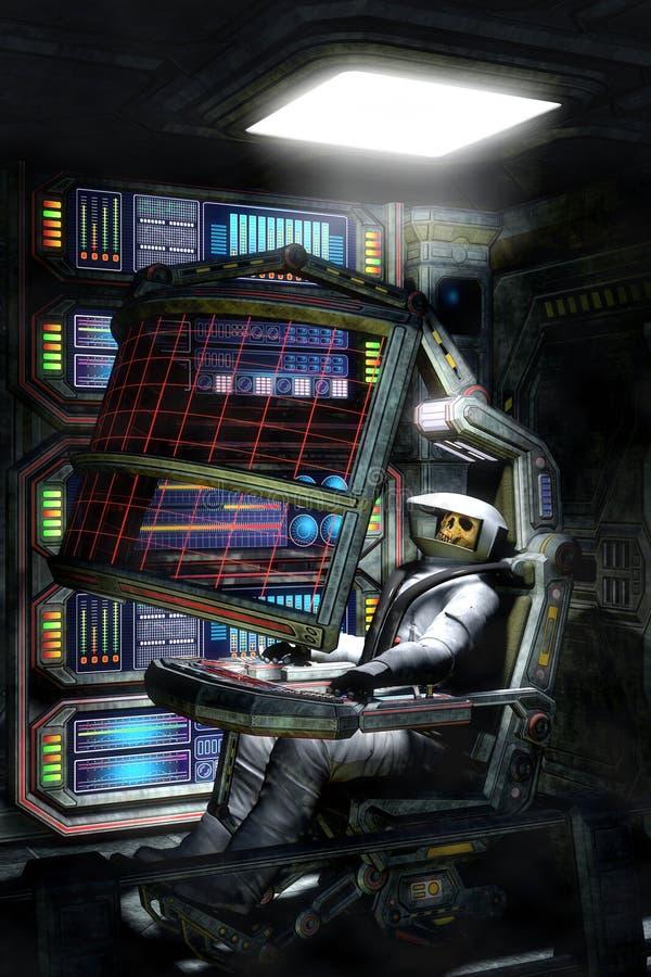Astronauta muerto en espacio ilustración del vector