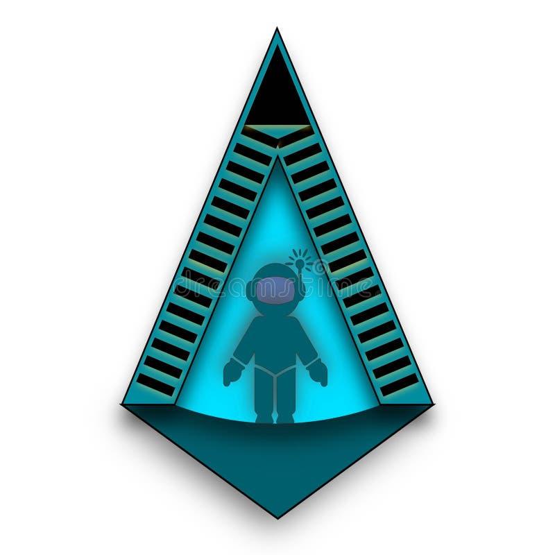 Astronauta na entrada Logo Idea ilustração stock