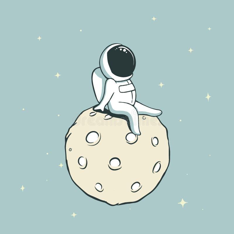 Astronauta na lua ilustração royalty free