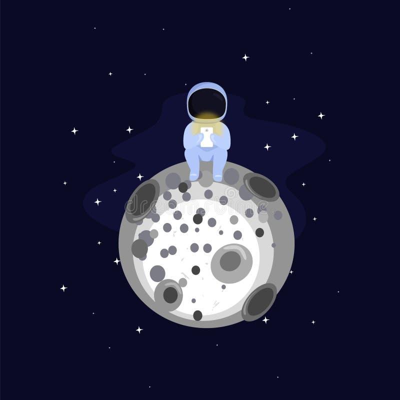 Astronauta na lua ilustração stock