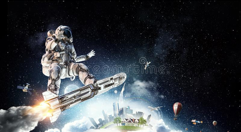 Astronauta na placa do voo Meios mistos foto de stock