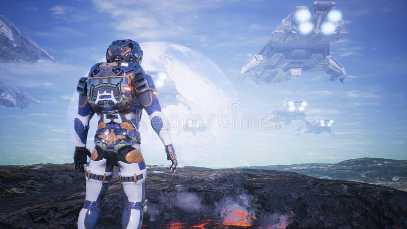 Astronauta na planecie pod nauką ogląda armadę statek kosmiczny świadczenia 3 d ilustracji