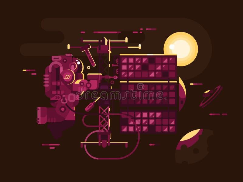Astronauta naprawiania statek kosmiczny w otwartej przestrzeni ilustracji