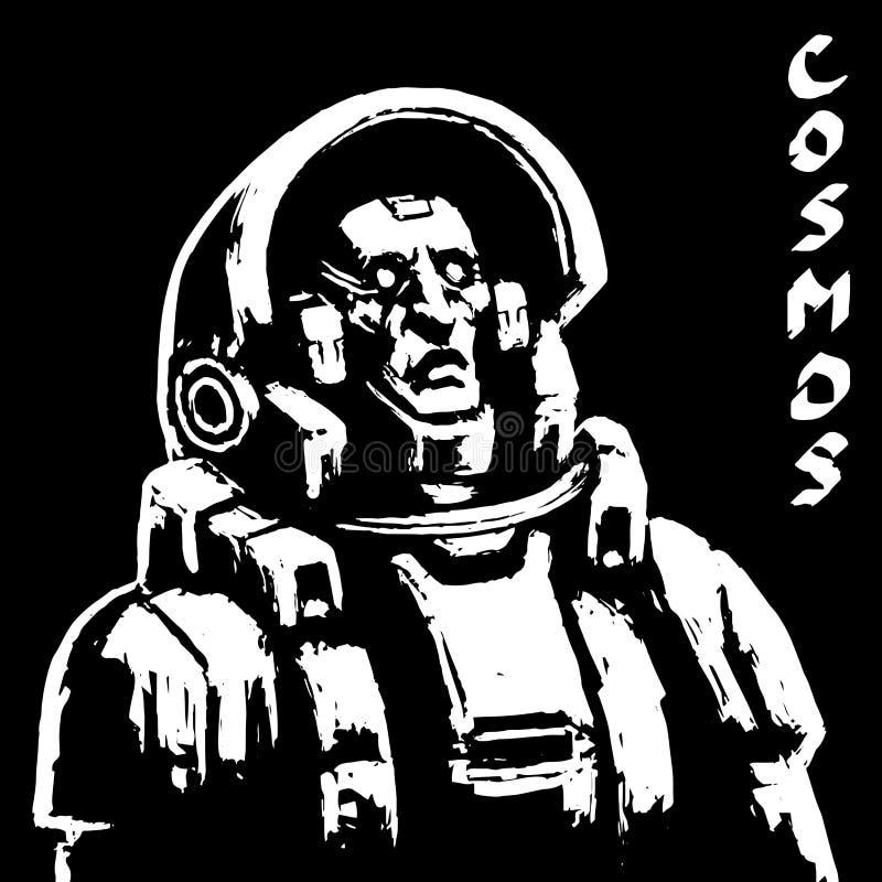 Astronauta nauki fikci charakter w czarny i biały kolorach również zwrócić corel ilustracji wektora ilustracji