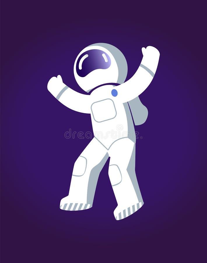 Astronauta nell'illustrazione di vettore del manifesto dello spazio royalty illustrazione gratis