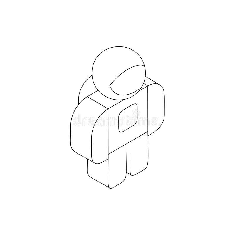 Astronauta no ícone do spacesuit, estilo 3d isométrico ilustração stock