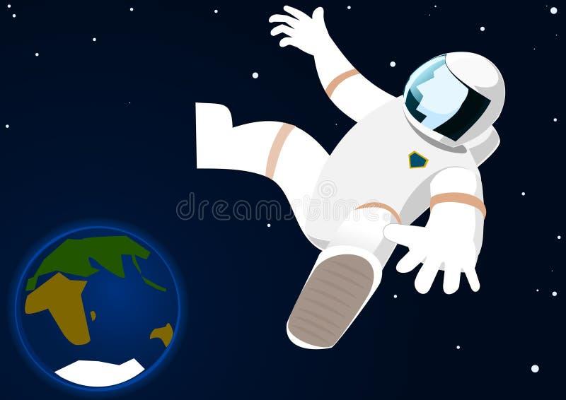 Astronauta no espaço aberto ilustração do vetor