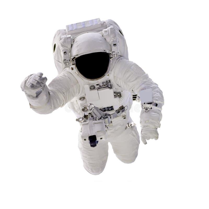 Astronauta no fim do spacesuit isolado acima no fundo branco foto de stock
