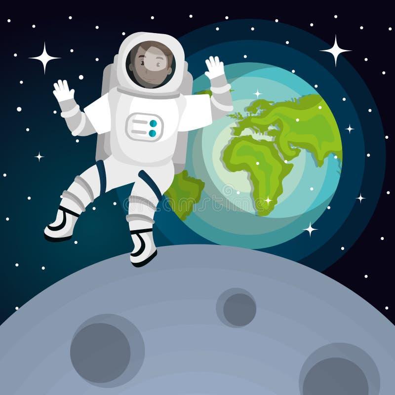 Astronauta no projeto de sistema solar ilustração royalty free