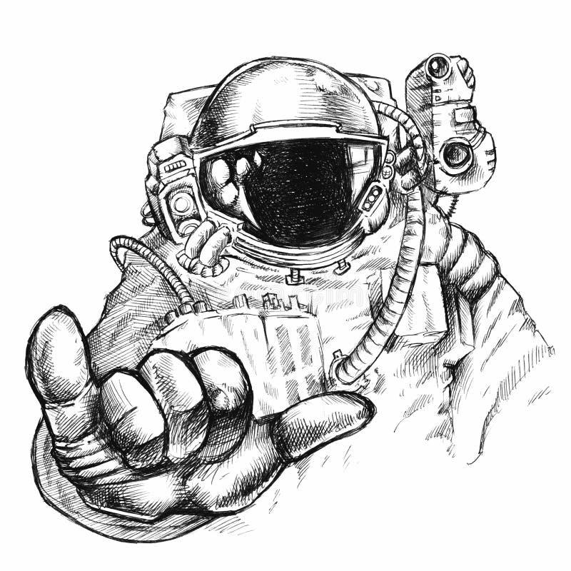Astronauta o cosmonauta in casco e tuta spaziale fantastici disegnati a mano con la mano che mostra gesto del mignolo e del polli immagine stock