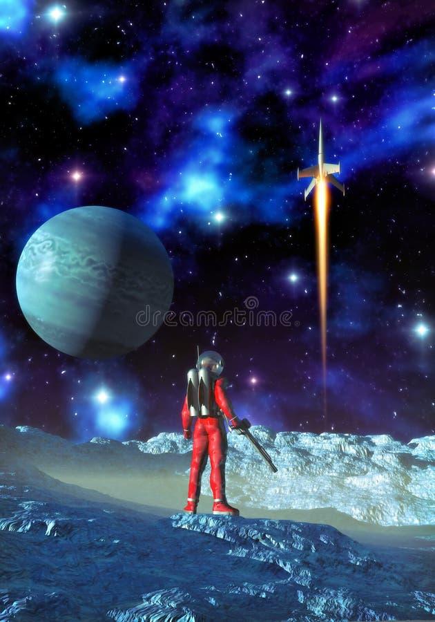 astronauta obca planeta royalty ilustracja