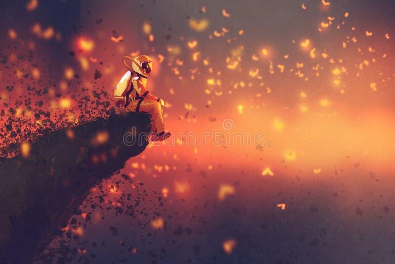 Astronauta obsiadanie na cliff& x27; s krawędź i patrzeć świetliki ilustracja wektor