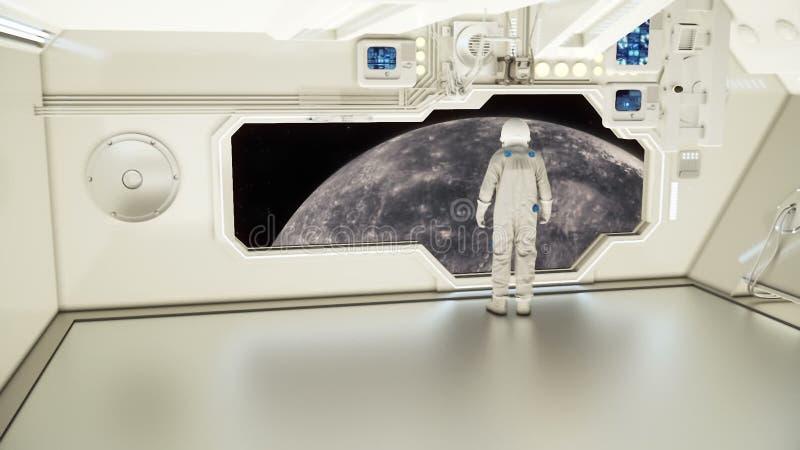 Astronauta ogląda rtęć na statku kosmicznym obraz royalty free