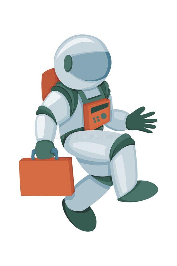 Astronauta profesional en el ejemplo moderno del vector de la historieta del traje de presión stock de ilustración