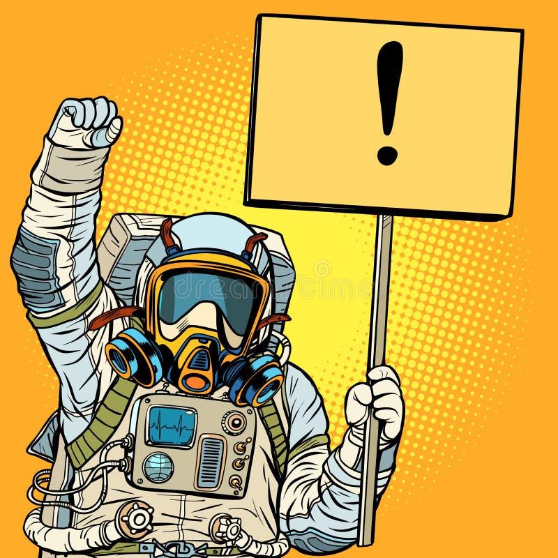 Astronauta protestuje przeciw zanieczyszczeniu powietrza w masce gazowej ekologia ilustracja wektor