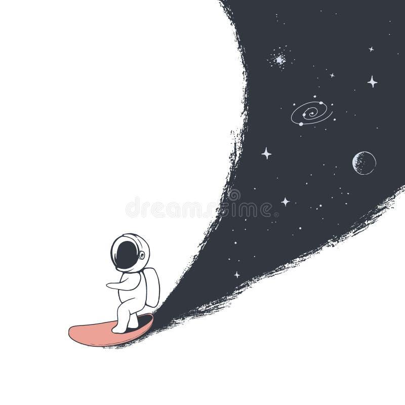 Astronauta przejażdżki na surfboard ilustracji
