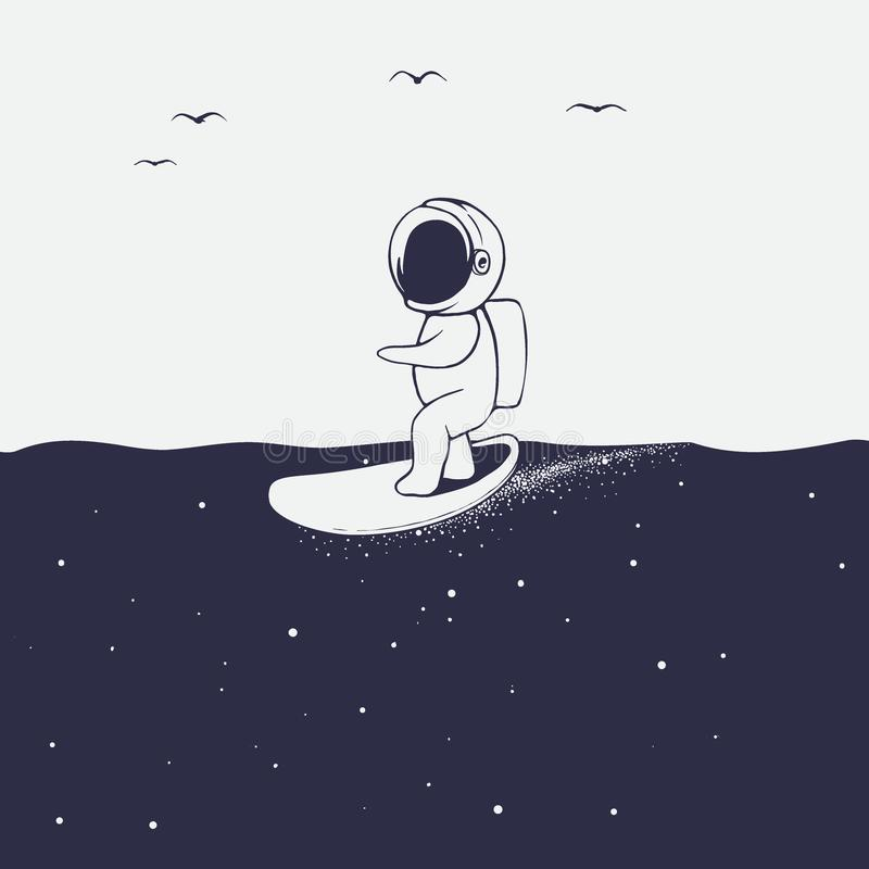 Astronauta przeja?d?ki na surfboard na astronautycznym morzu royalty ilustracja