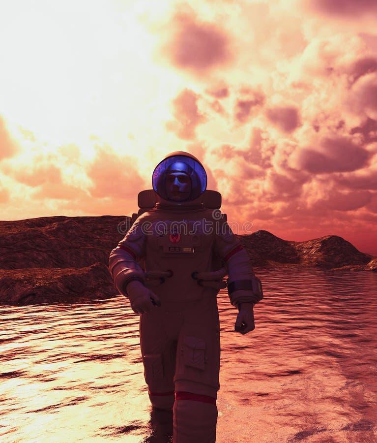 Astronauta que anda na água ilustração do vetor