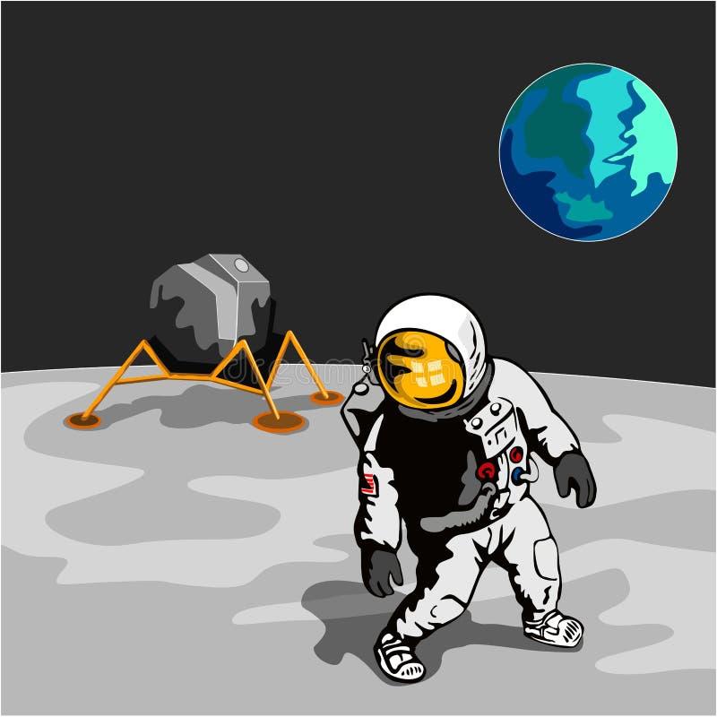 Astronauta que anda na lua ilustração stock