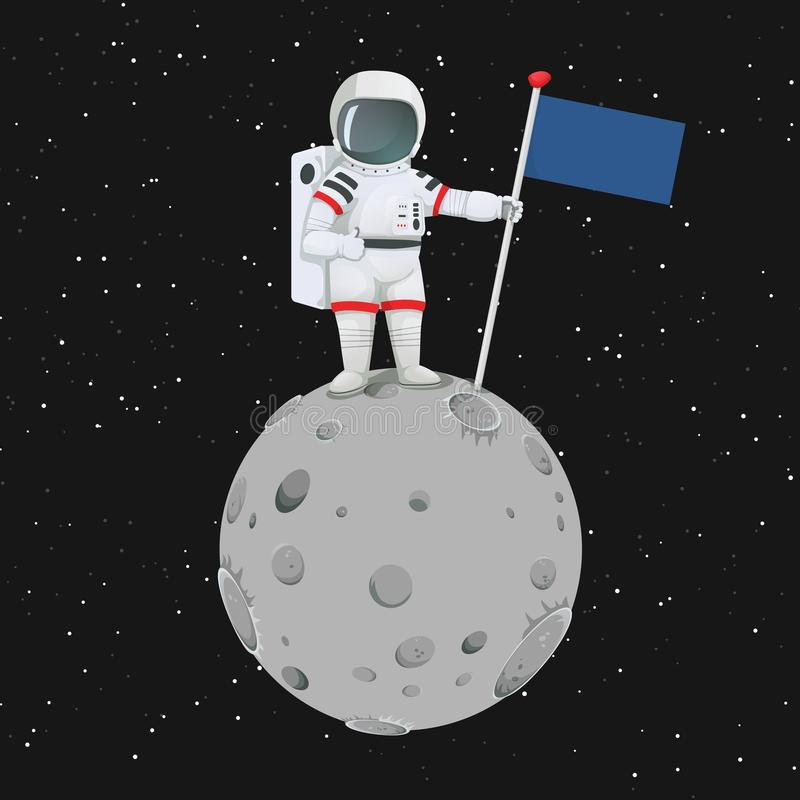Astronauta que dá os polegares acima do sinal que está na lua com uma bandeira ilustração royalty free
