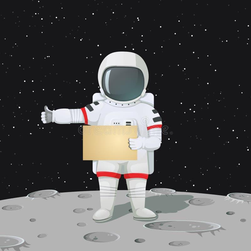 Astronauta que está na superfície da lua que guarda um sinal vazio e que faz hitchhiker' gesto de s ilustração stock