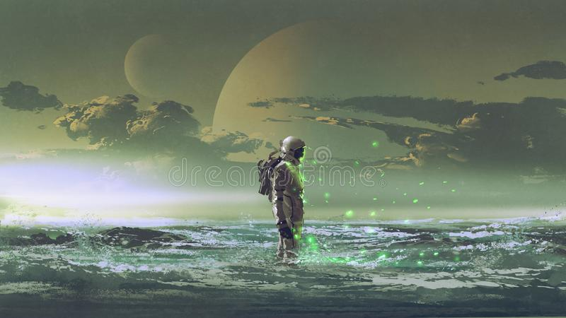 Astronauta que está pelo mar ilustração royalty free