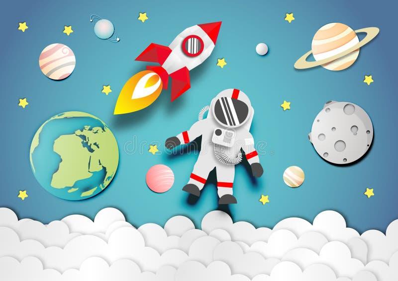 Astronauta que flota en la estratosfera y el cohete o la nave espacial en vector del fondo del espacio stock de ilustración