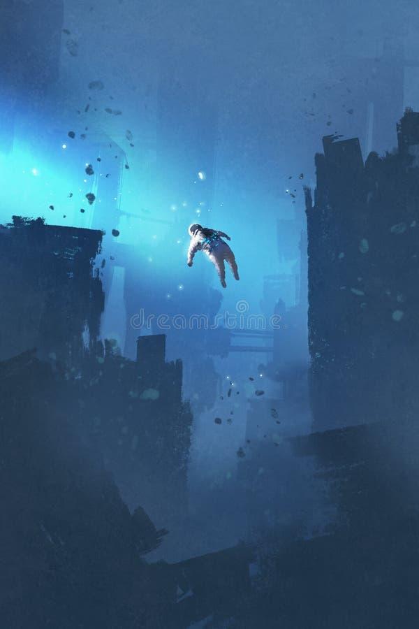 Astronauta que flutua na cidade abandonada ilustração do vetor