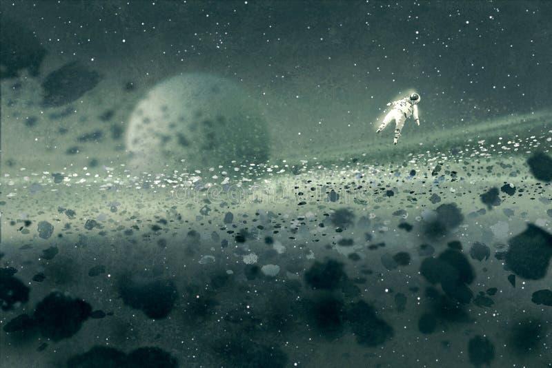 Astronauta que flutua no campo asteroide, espaço misterioso ilustração do vetor