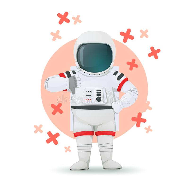 Astronauta que hace el gesto de la desaprobación con las Cruces Rojas en el fondo Una mano en jarras y otros pulgares que muestra libre illustration