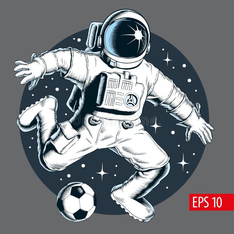 Astronauta que juega a fútbol o a fútbol en espacio Ilustración del vector ilustración del vector