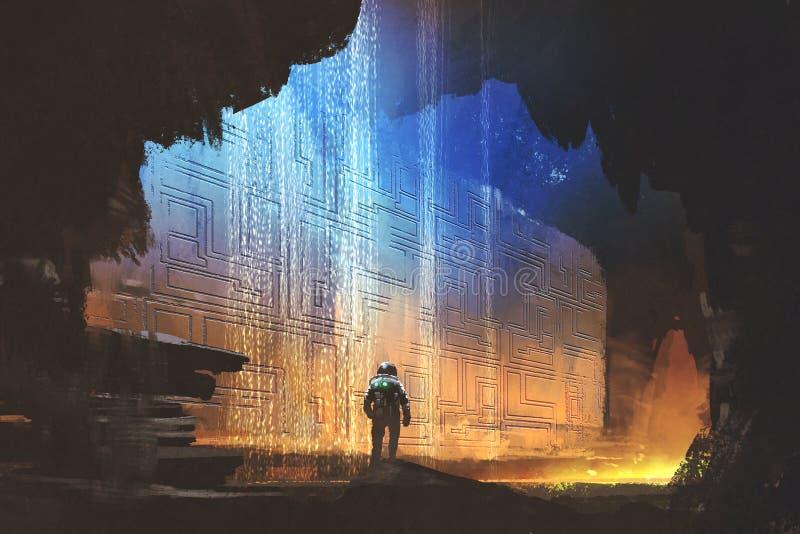 Astronauta que mira el modelo en la pared de la roca ilustración del vector