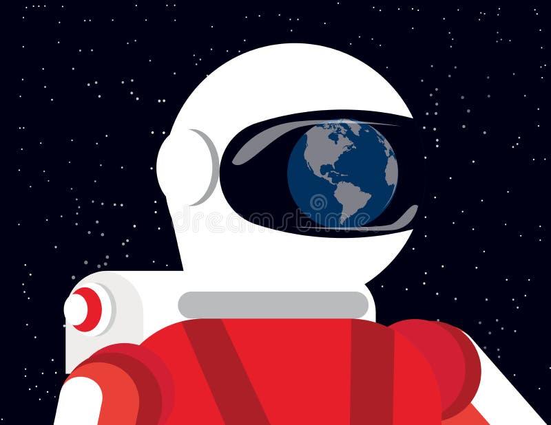 Astronauta que mira la tierra, ejemplo del vector de la tecnología del concepto Diseño plano del estilo de personaje de dibujos a ilustración del vector