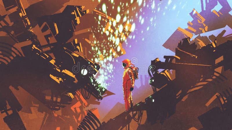 Astronauta que se coloca delante del panel de control  libre illustration