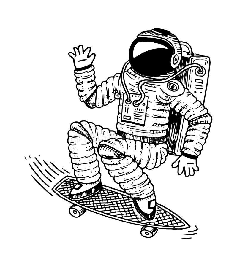 Astronauta que se eleva con el monopatín Astronauta del baile aventura en el espacio astronómico de la galaxia el cosmonauta expl ilustración del vector