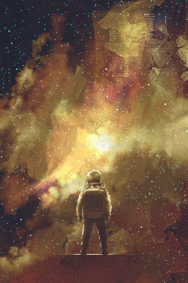 Astronauta que se opone a campo de estrellas del universo ilustración del vector