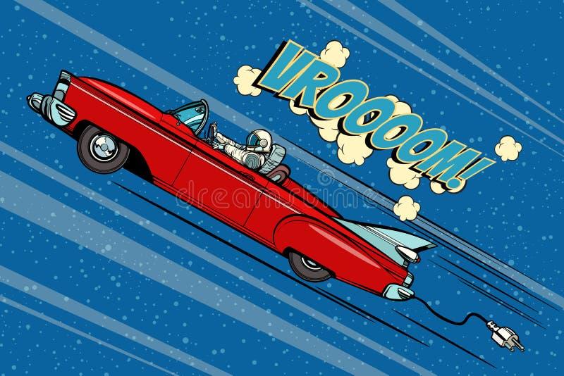 Astronauta que se sienta detrás de la rueda de un coche stock de ilustración