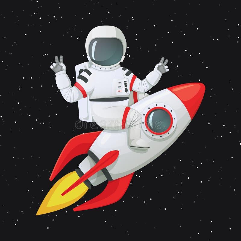 Astronauta que se sienta a horcajadas en la nave del cohete que hace signos de la paz con ambas manos stock de ilustración