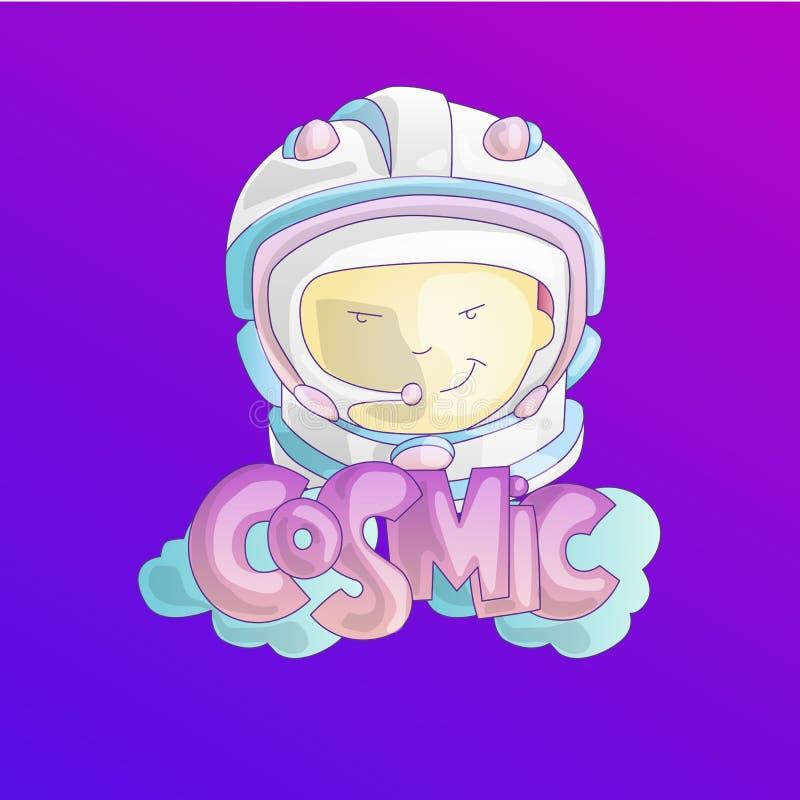 Astronauta, ragazza del cosmonauta nel casco dell'universo dello spazio con la parola cosmica e nuvole sul fondo Illustrazione sv illustrazione di stock