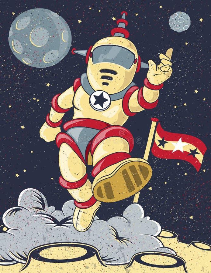 Astronauta retro stock de ilustración