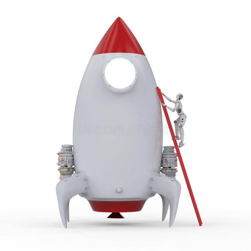 Astronauta robótico con el cohete ilustración del vector