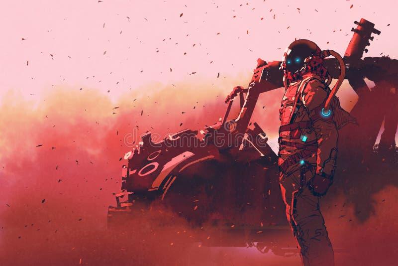 Astronauta rojo que se coloca cerca del vehículo futurista en el planeta de Marte ilustración del vector