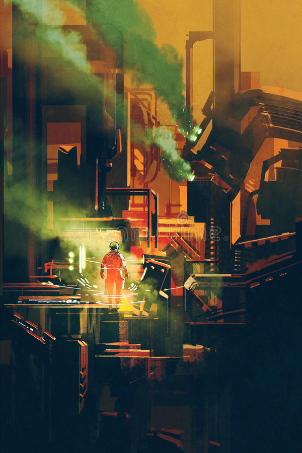 Astronauta rojo que se coloca en arquitectura futurista libre illustration