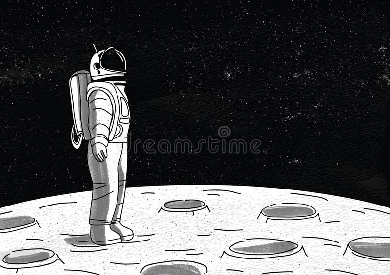 Astronauta só no spacesuit que está na superfície da lua e que olha o espaço completamente das estrelas Planeta de exploração do  ilustração stock