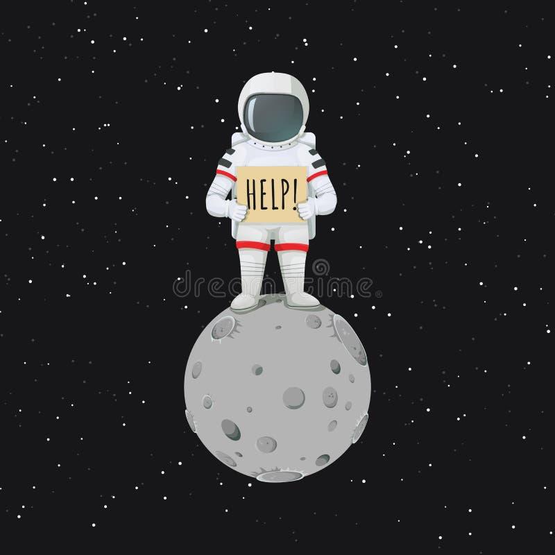 Astronauta só que está na lua com um sinal que pede a ajuda ilustração royalty free